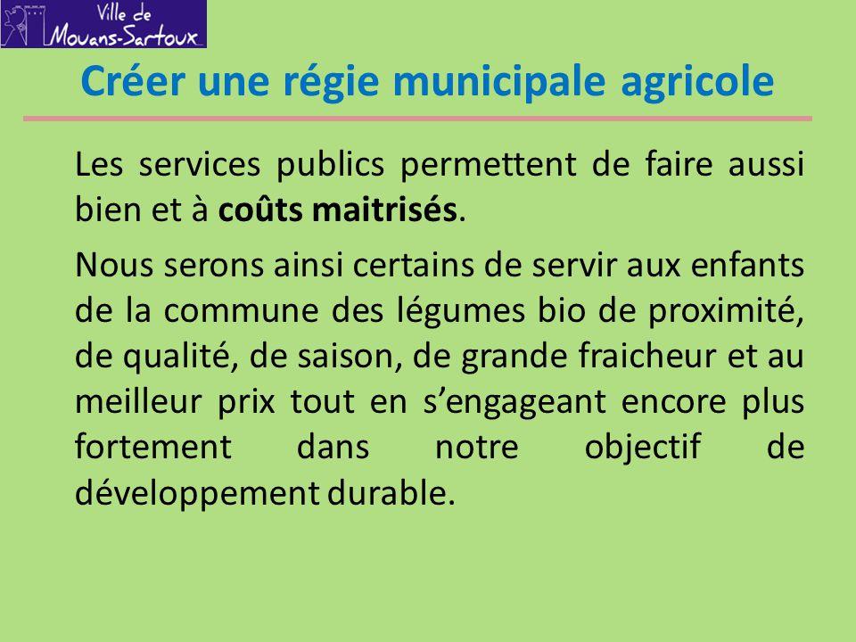 Créer une régie municipale agricole
