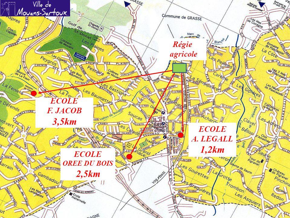 ECOLE F. JACOB 3,5km A. LEGALL 1,2km OREE DU BOIS 2,5km Régie agricole