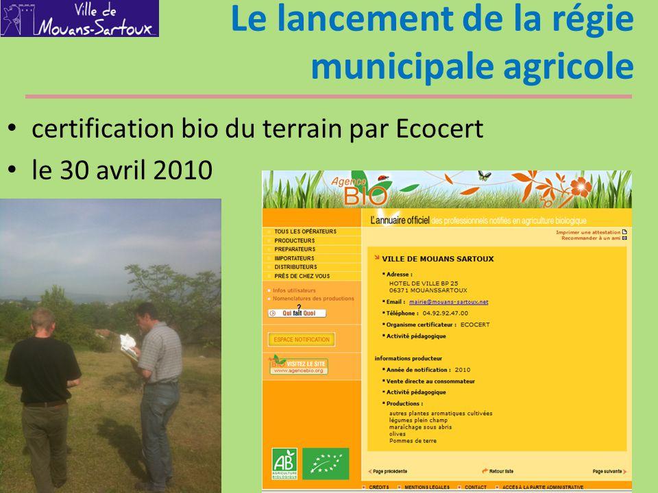 Le lancement de la régie municipale agricole