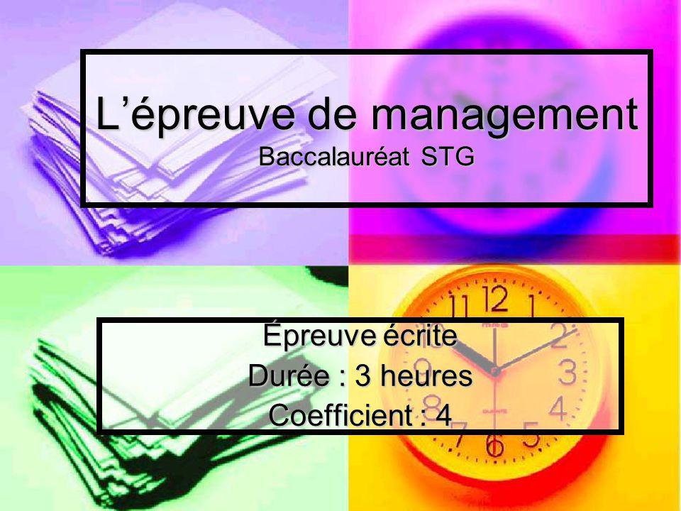 L'épreuve de management Baccalauréat STG