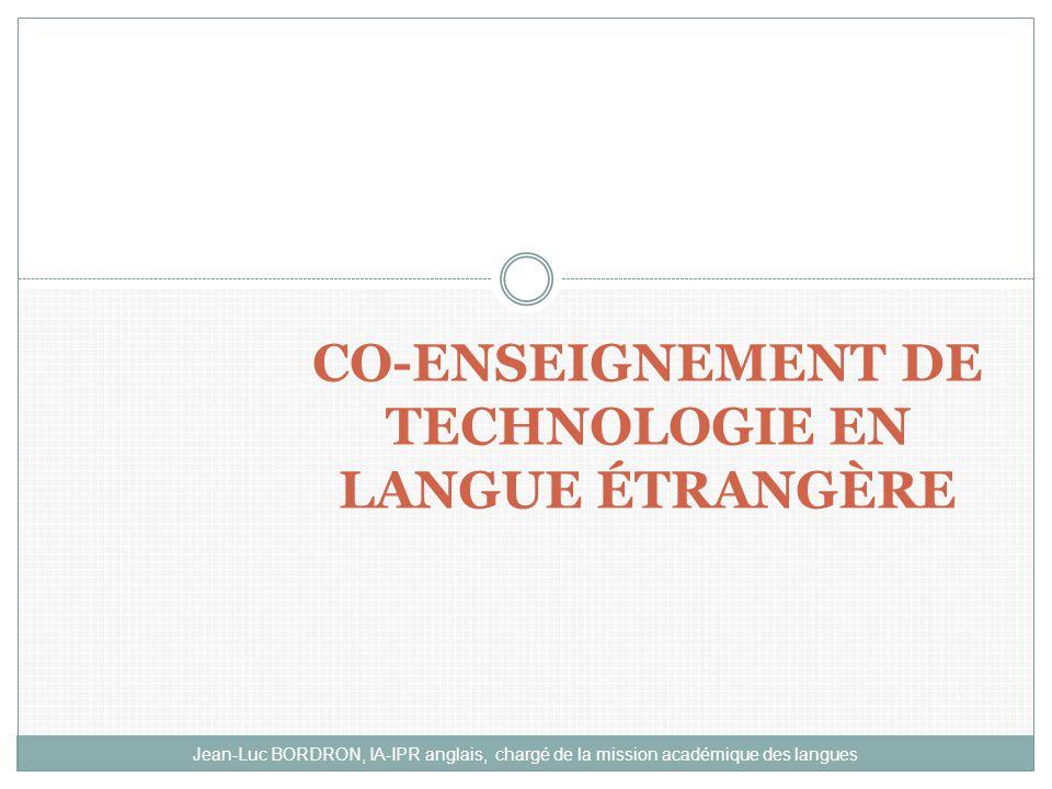 CO-ENSEIGNEMENT DE TECHNOLOGIE EN LANGUE ÉTRANGÈRE
