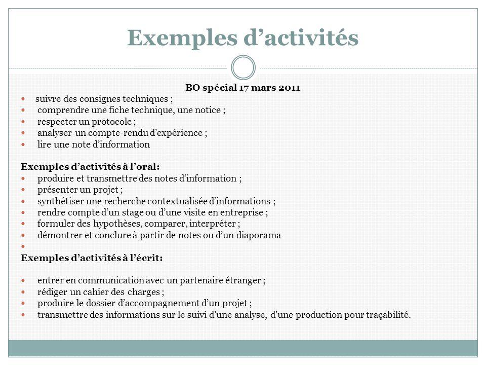 Exemples d'activités BO spécial 17 mars 2011
