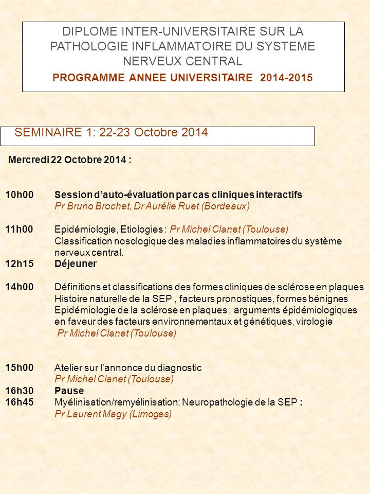 PROGRAMME ANNEE UNIVERSITAIRE 2014-2015
