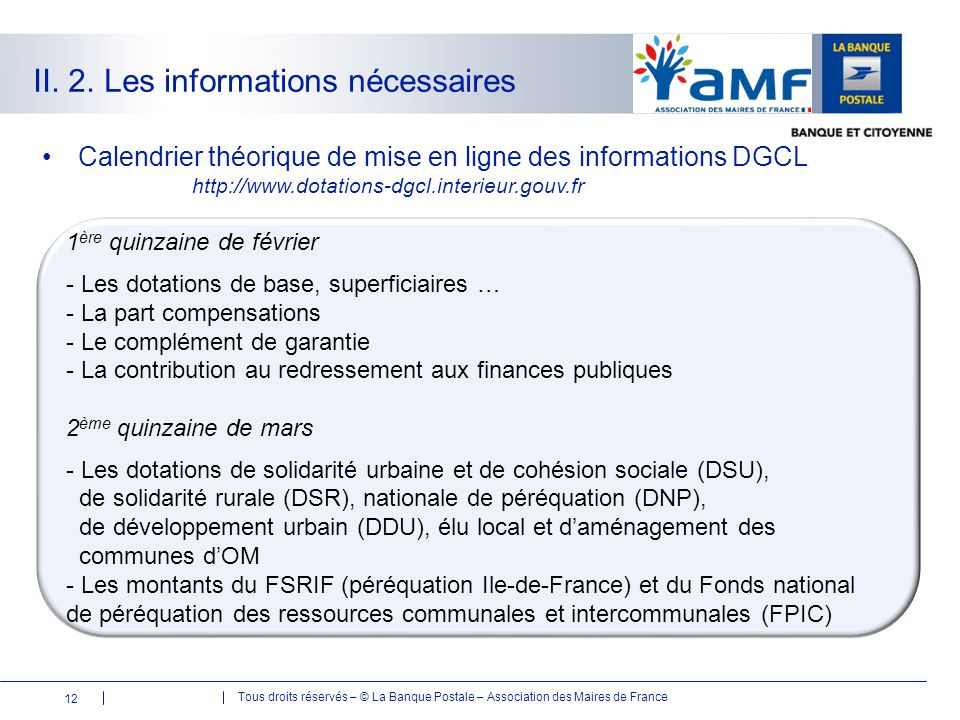 II. 2. Les informations nécessaires