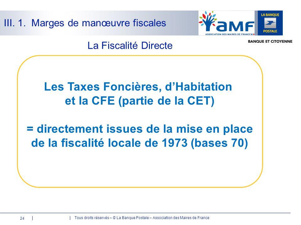 Les Taxes Foncières, d'Habitation et la CFE (partie de la CET)