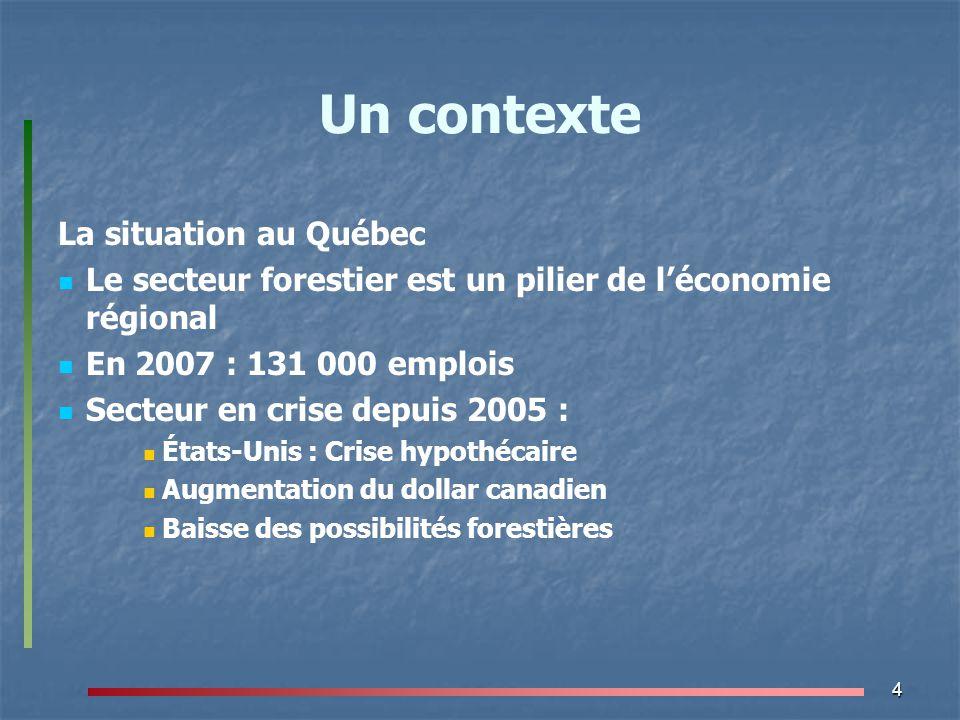 Un contexte La situation au Québec