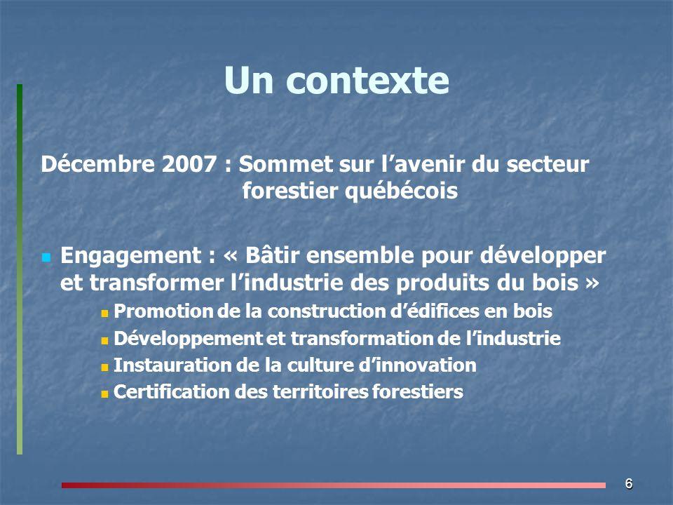 Un contexte Décembre 2007 : Sommet sur l'avenir du secteur forestier québécois.
