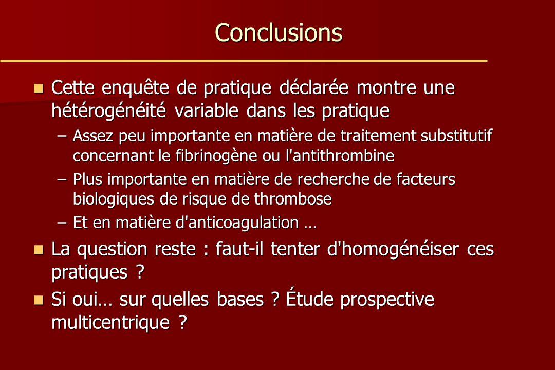 Conclusions Cette enquête de pratique déclarée montre une hétérogénéité variable dans les pratique.