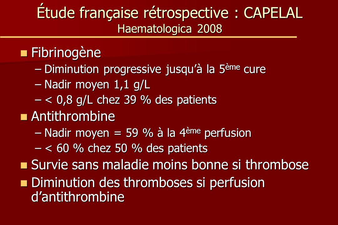 Étude française rétrospective : CAPELAL Haematologica 2008