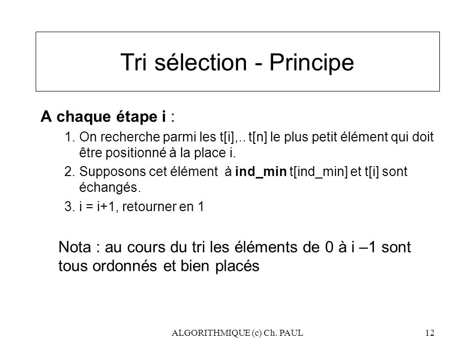 Tri sélection - Principe