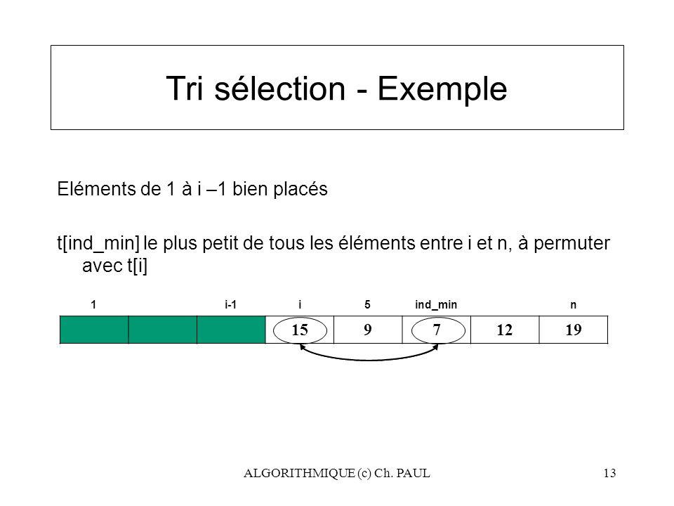 Tri sélection - Exemple