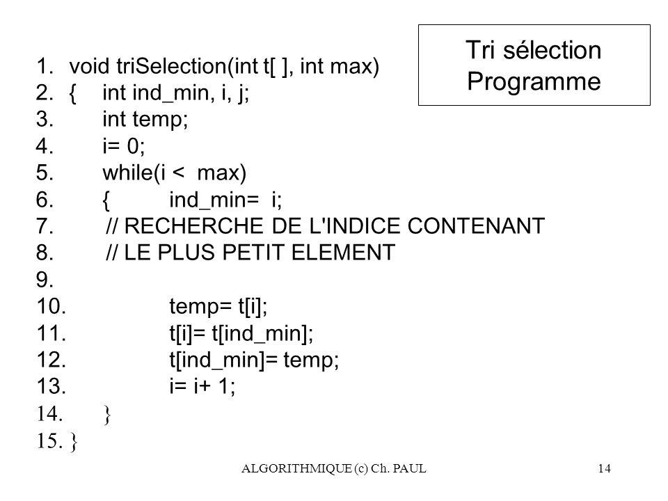 Tri sélection Programme