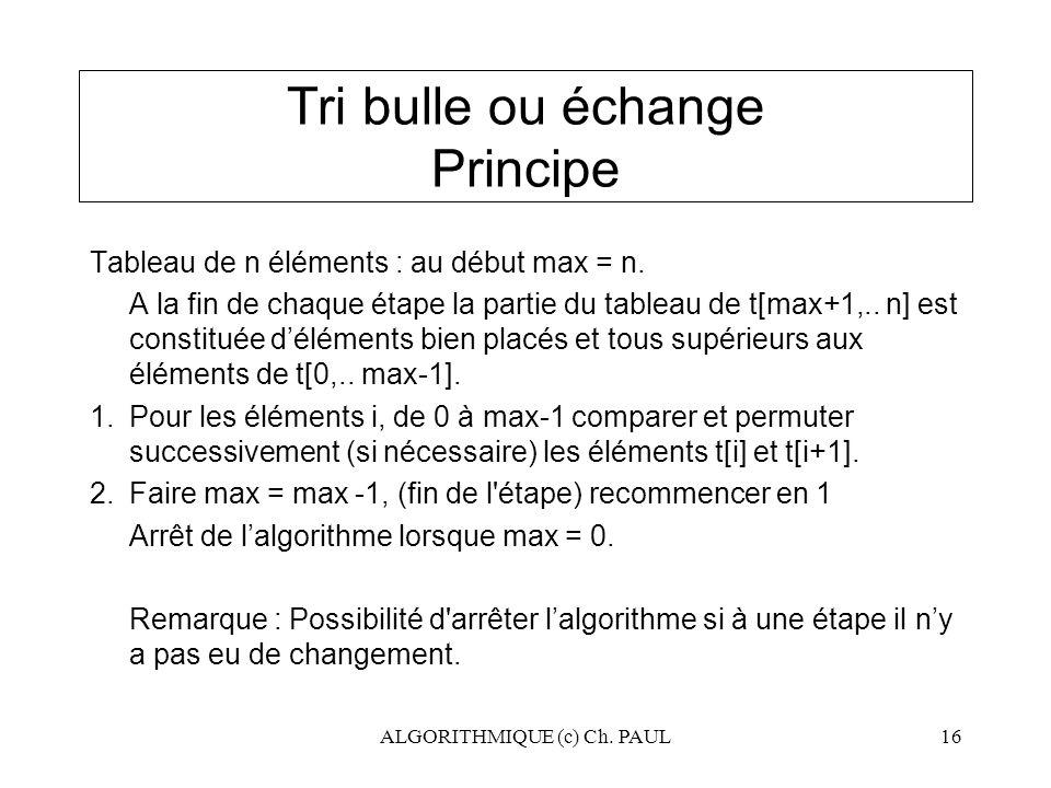 Tri bulle ou échange Principe