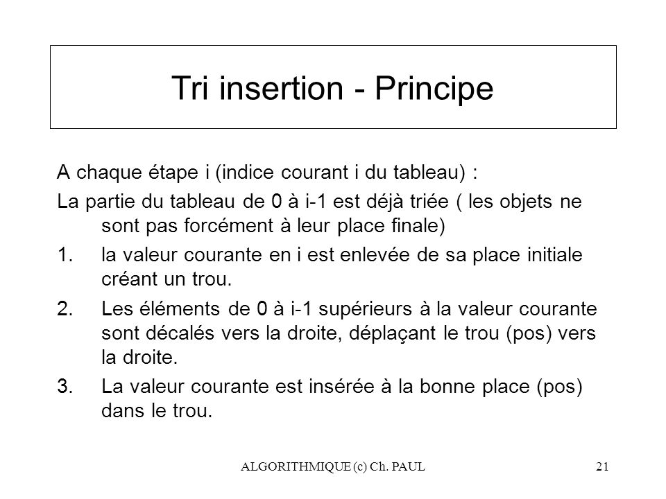 Tri insertion - Principe