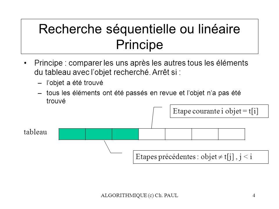 Recherche séquentielle ou linéaire Principe