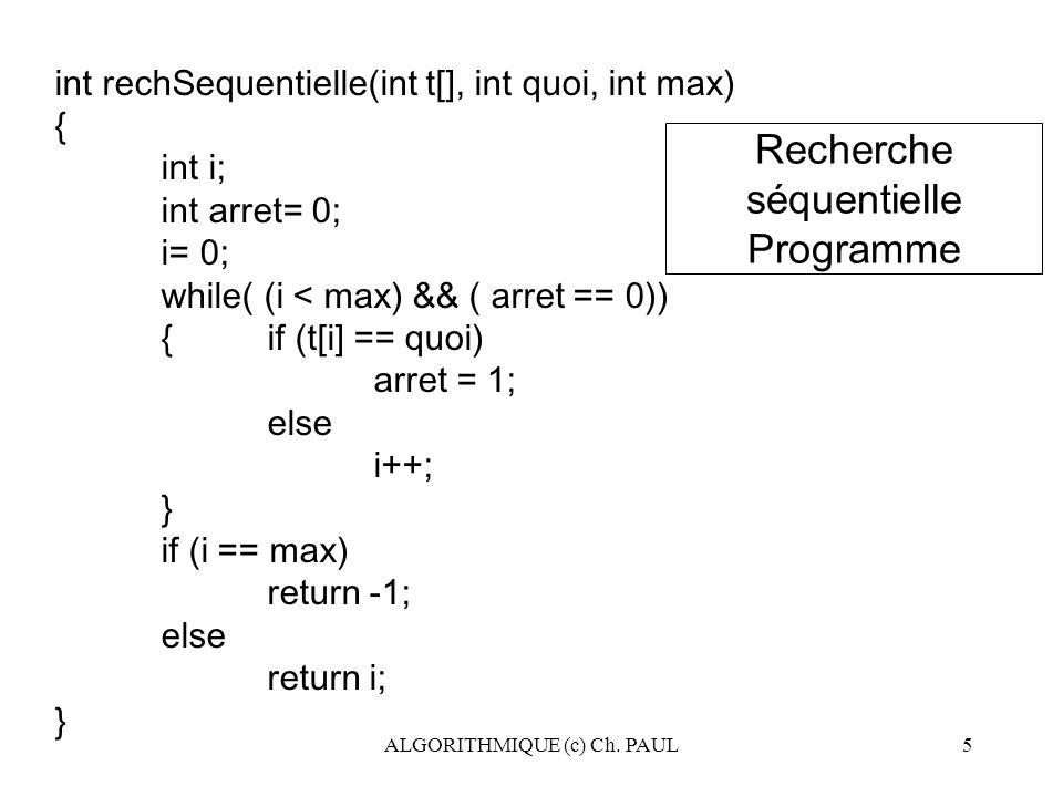 Recherche séquentielle Programme