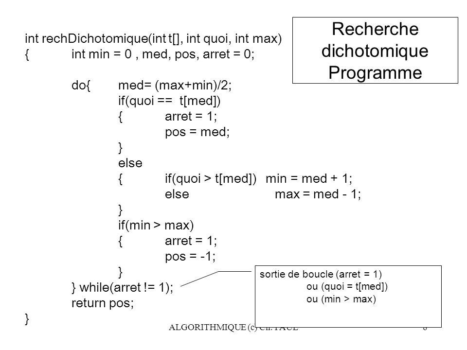 Recherche dichotomique Programme