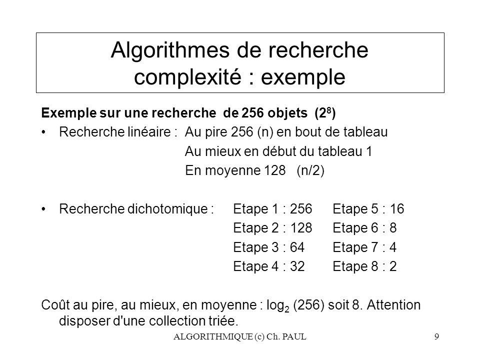 Algorithmes de recherche complexité : exemple