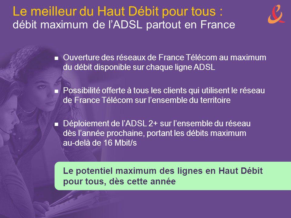 Le meilleur du Haut Débit pour tous : débit maximum de l'ADSL partout en France