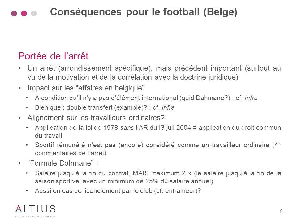 Conséquences pour le football (Belge)