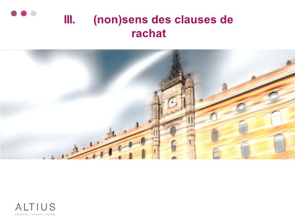 Problématique Pratiquement Différentes sortes de clauses de rachat