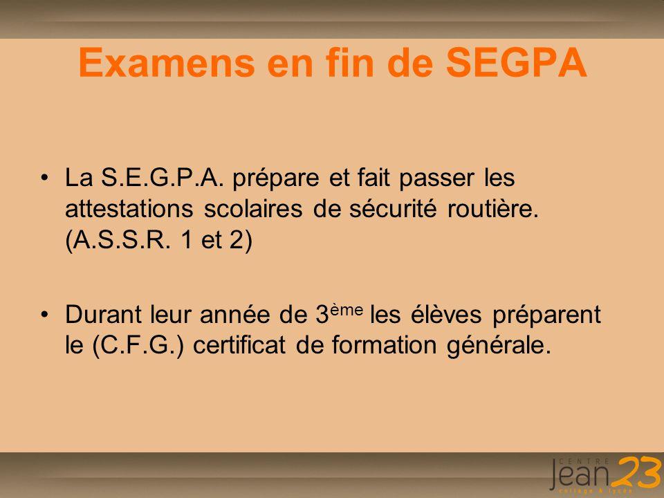 Examens en fin de SEGPA La S.E.G.P.A. prépare et fait passer les attestations scolaires de sécurité routière. (A.S.S.R. 1 et 2)