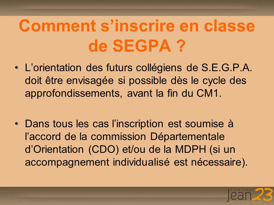 Comment s'inscrire en classe de SEGPA