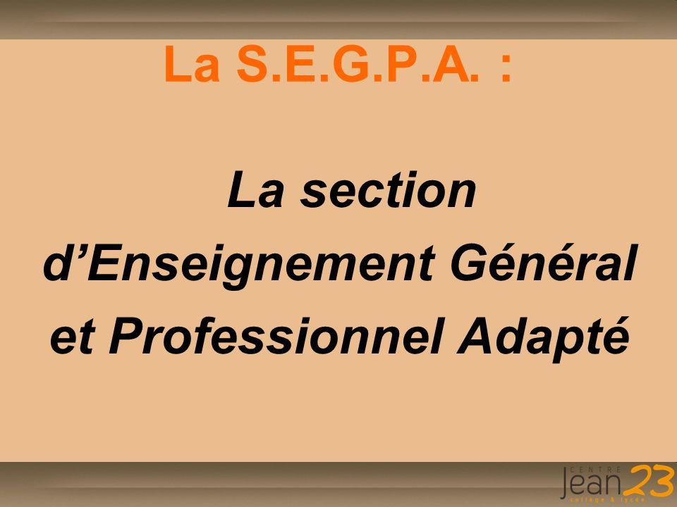 d'Enseignement Général et Professionnel Adapté