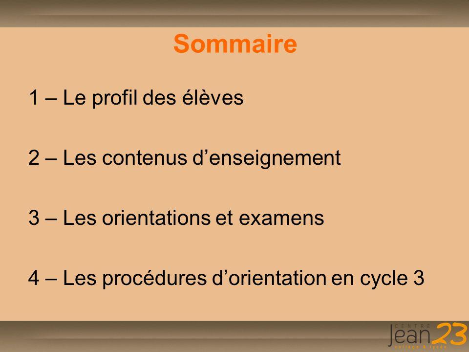 Sommaire 1 – Le profil des élèves 2 – Les contenus d'enseignement