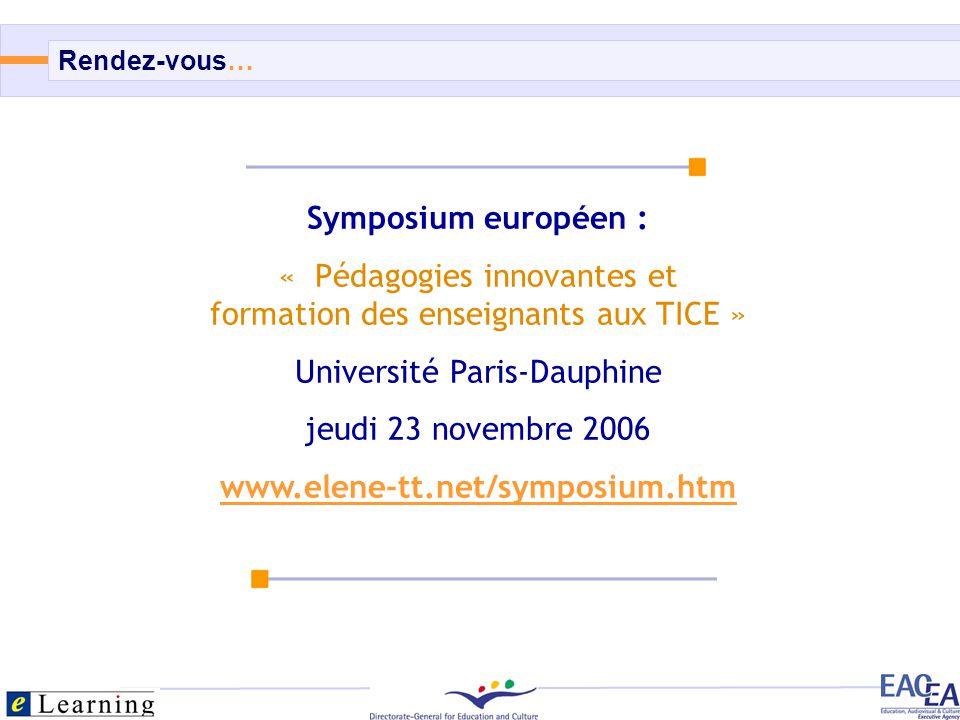 Symposium européen : www.elene-tt.net/symposium.htm
