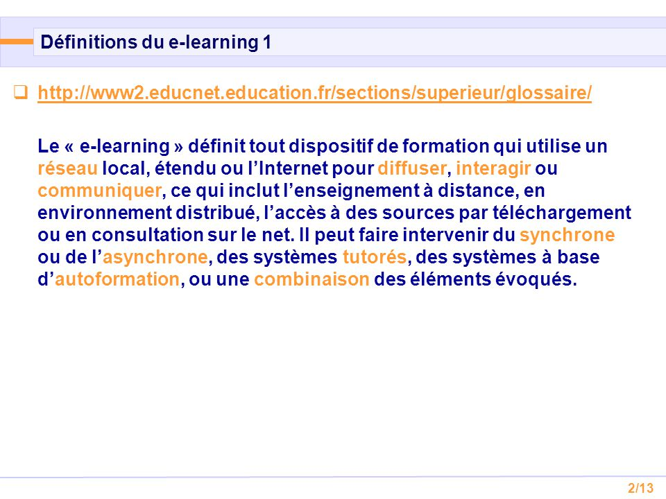 Définitions du e-learning 1