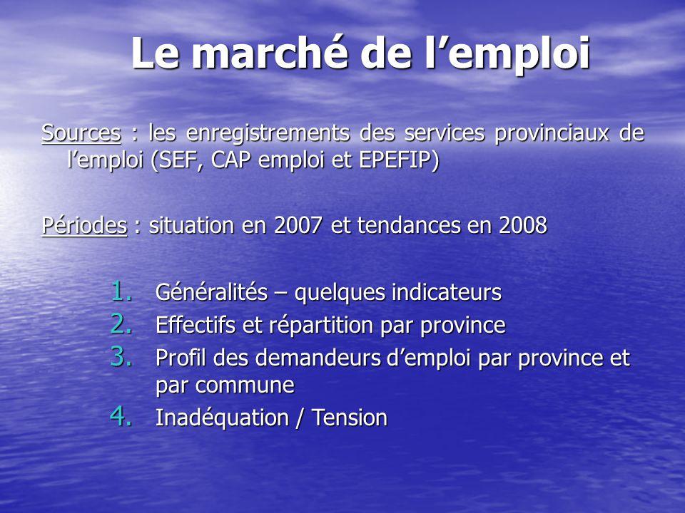 Le marché de l'emploi Sources : les enregistrements des services provinciaux de l'emploi (SEF, CAP emploi et EPEFIP)
