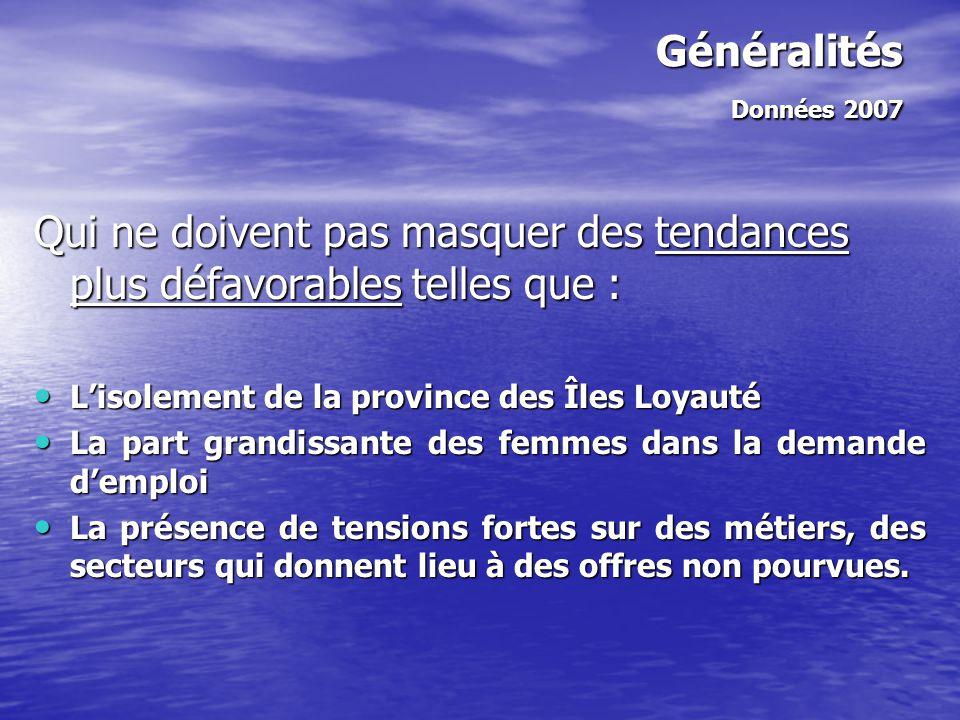 Généralités Données 2007 Qui ne doivent pas masquer des tendances plus défavorables telles que : L'isolement de la province des Îles Loyauté.