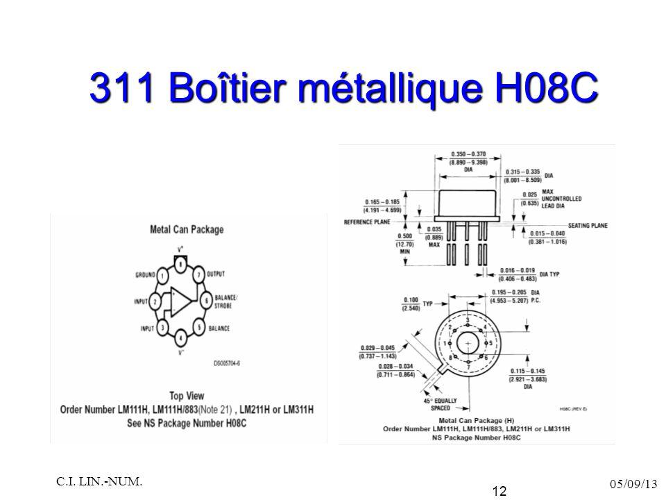 311 Boîtier métallique H08C C.I. LIN.-NUM. 05/09/13