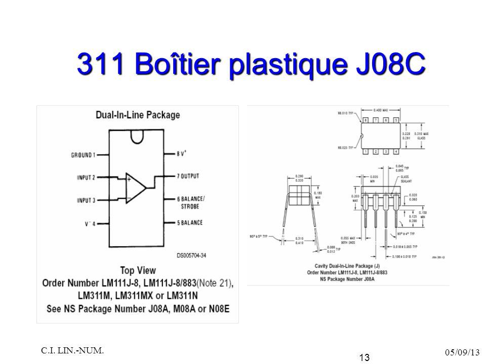 311 Boîtier plastique J08C C.I. LIN.-NUM. 05/09/13
