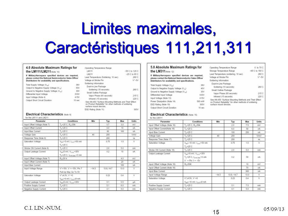 Limites maximales, Caractéristiques 111,211,311