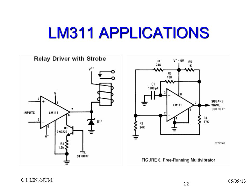 LM311 APPLICATIONS C.I. LIN.-NUM. 05/09/13