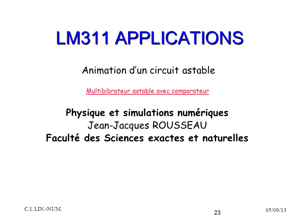 LM311 APPLICATIONS Animation d'un circuit astable