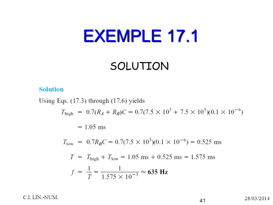 EXEMPLE 17.1 SOLUTION C.I. LIN.-NUM. 28/03/2014