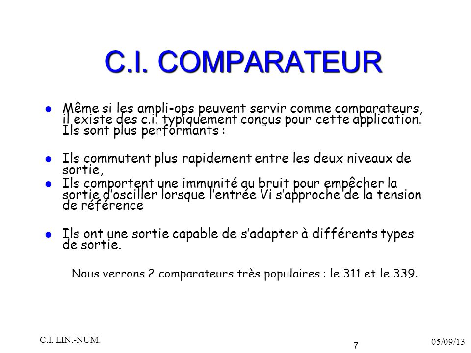 C.I. COMPARATEUR
