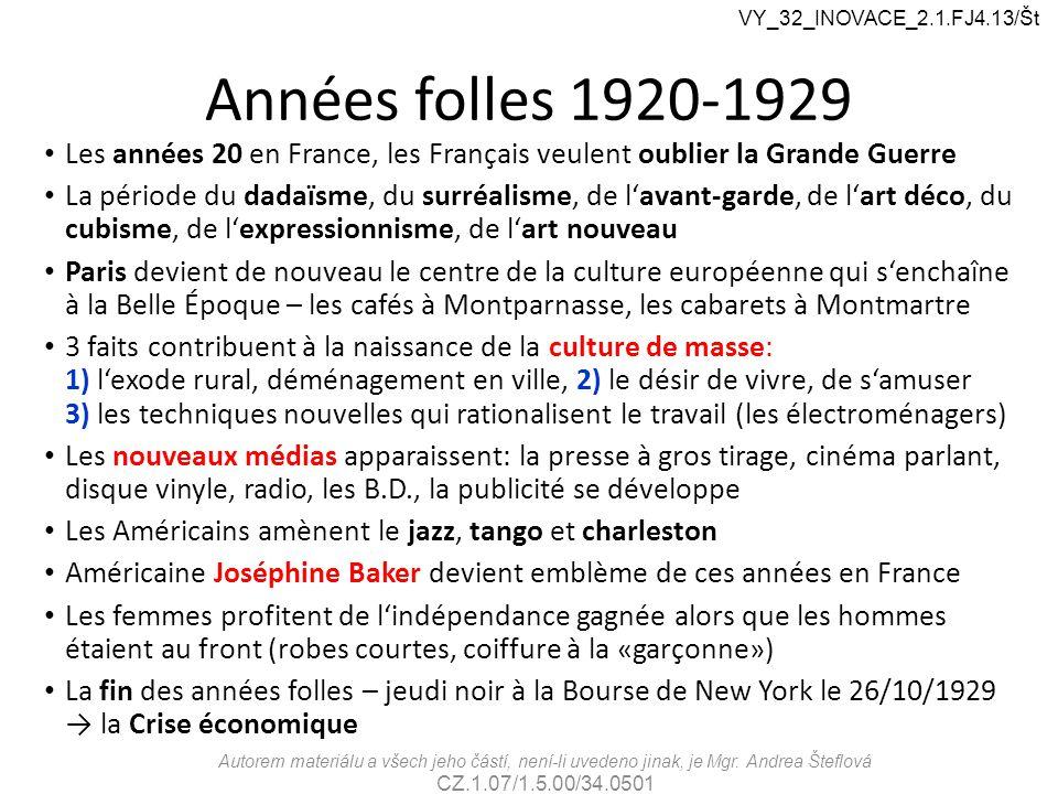 VY_32_INOVACE_2.1.FJ4.13/Št Années folles 1920-1929. Les années 20 en France, les Français veulent oublier la Grande Guerre.
