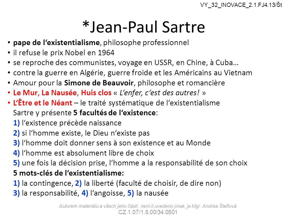 *Jean-Paul Sartre pape de l'existentialisme, philosophe professionnel