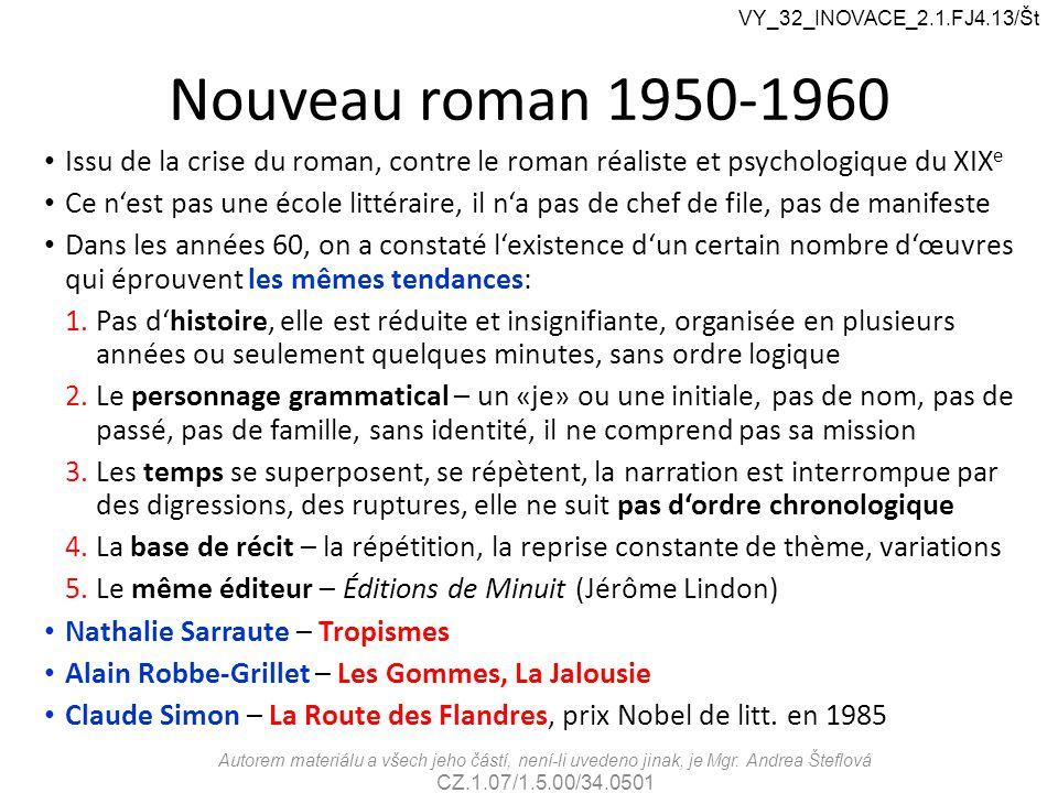 VY_32_INOVACE_2.1.FJ4.13/Št Nouveau roman 1950-1960. Issu de la crise du roman, contre le roman réaliste et psychologique du XIXe.