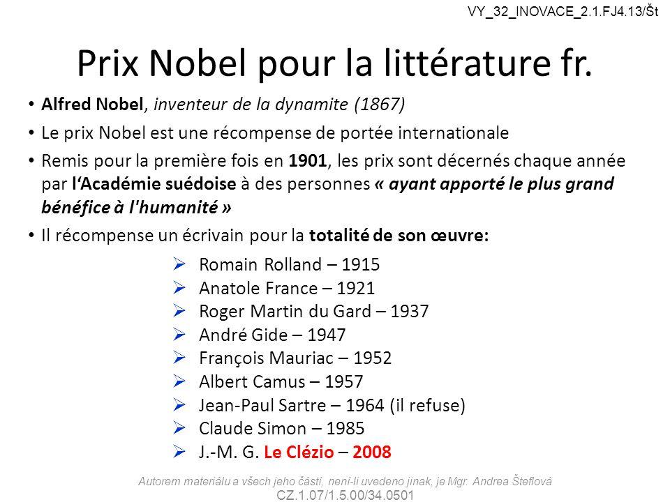Prix Nobel pour la littérature fr.