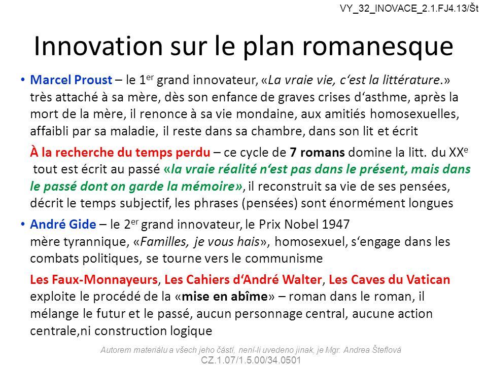 Innovation sur le plan romanesque