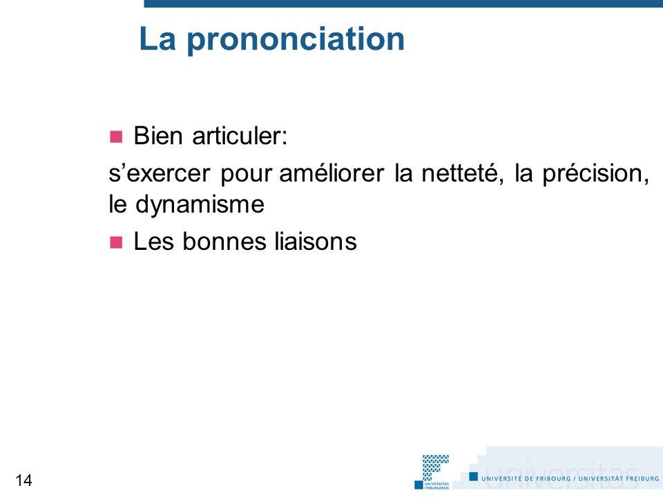 La prononciation Bien articuler: