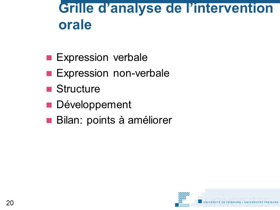 Grille d'analyse de l'intervention orale
