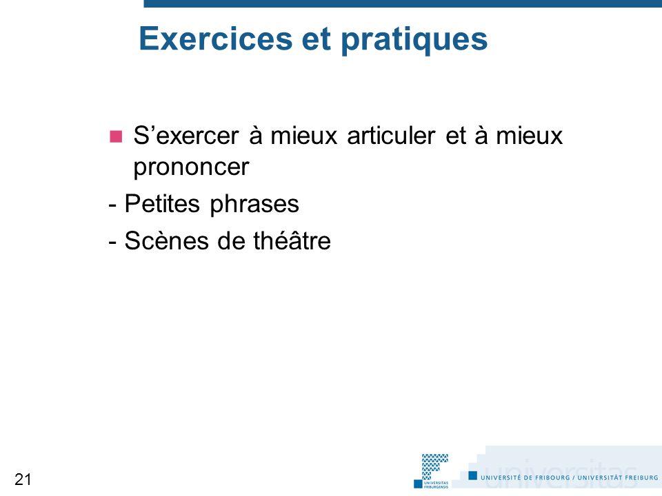 Exercices et pratiques