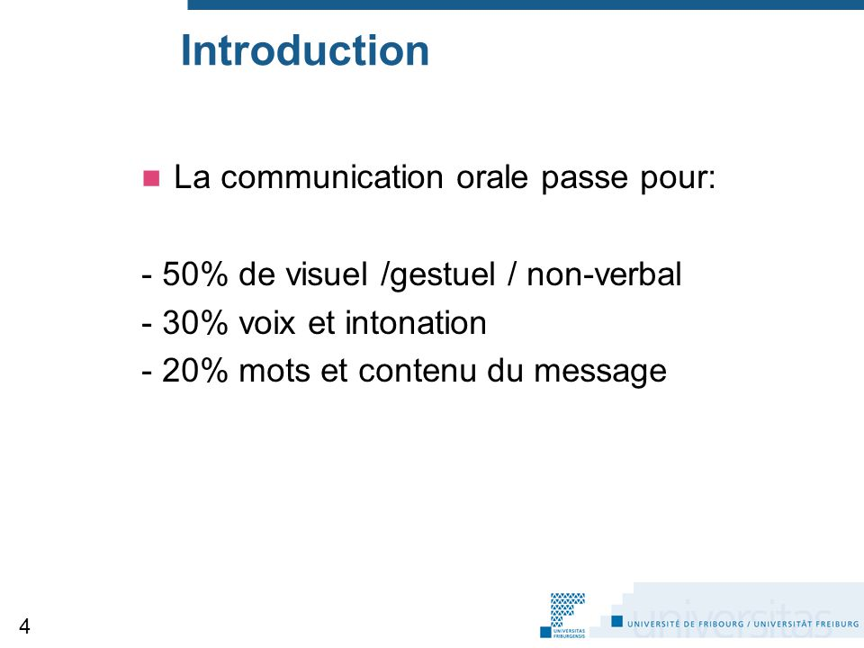 Introduction La communication orale passe pour: