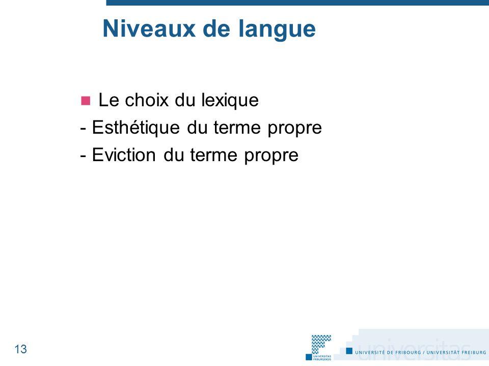 Niveaux de langue Le choix du lexique - Esthétique du terme propre